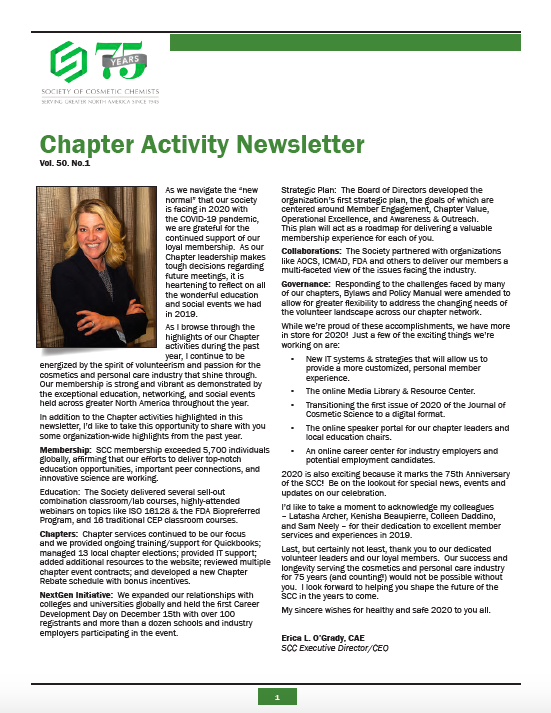 2019 SCC Chapter Activity Newsletter cover image